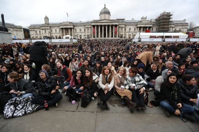 Crowds gather for the free screening of Asghar Farhadi's The Salesman in Trafalgar Square, central London, as the Iranian director is boycotting this weekend's Oscars over Donald Trump's travel ban. PRESS ASSOCIATION Photo. Picture date: Sunday February 26, 2017. Farhadi, who won an Academy Award in 2012, has said he will not attend the awards show even if he is granted permission to enter the country following the ban on people from seven Muslim-majority countries from entering the United States. See PA story SHOWBIZ Oscars. Photo credit should read: Jonathan Brady/PA Wire