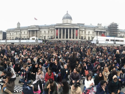 Thousands attend screening in Trafalgar Square after director boycotts Oscars