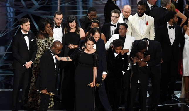 HOLLYWOOD, CA - FEBRUARY 26: Cast and crew of 'Moonlight' accept the Best Picture award onstage during the 89th Annual Academy Awards at Hollywood & Highland Center on February 26, 2017 in Hollywood, California. (Photo by Kevin Winter/Getty Images)
