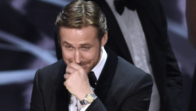 "Ryan Gosling reacts as the true winner of best picture is announced at the Oscars on Sunday, Feb. 26, 2017, at the Dolby Theatre in Los Angeles. It was originally announced that ""La La Land"" won, but the winner was actually, ""Moonlight."" (Photo by Chris Pizzello/Invision/AP)"