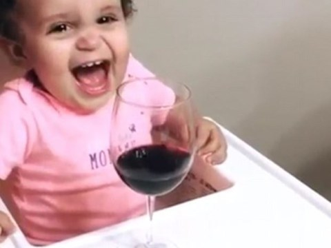 Baby stops crying after being offered glass of red wine