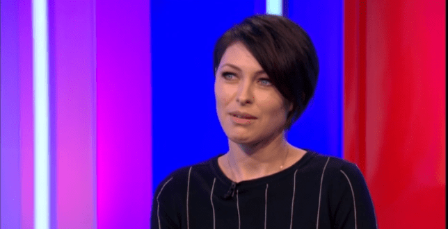 Emma Willis couldn't hide her shock after being interrupted mid-story on the One Show (Picture: BBC)