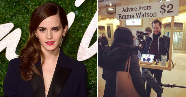Emma Watson has given out life advice at New York Grand Central Station via an iPad (Picture: Instagram/PA)