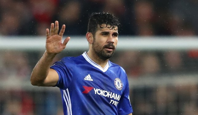 LIVERPOOL, ENGLAND - JANUARY 31: Diego Costa of Chelsea waves to fans after the Premier League match between Liverpool and Chelsea at Anfield on January 31, 2017 in Liverpool, England.  (Photo by Clive Mason/Getty Images)