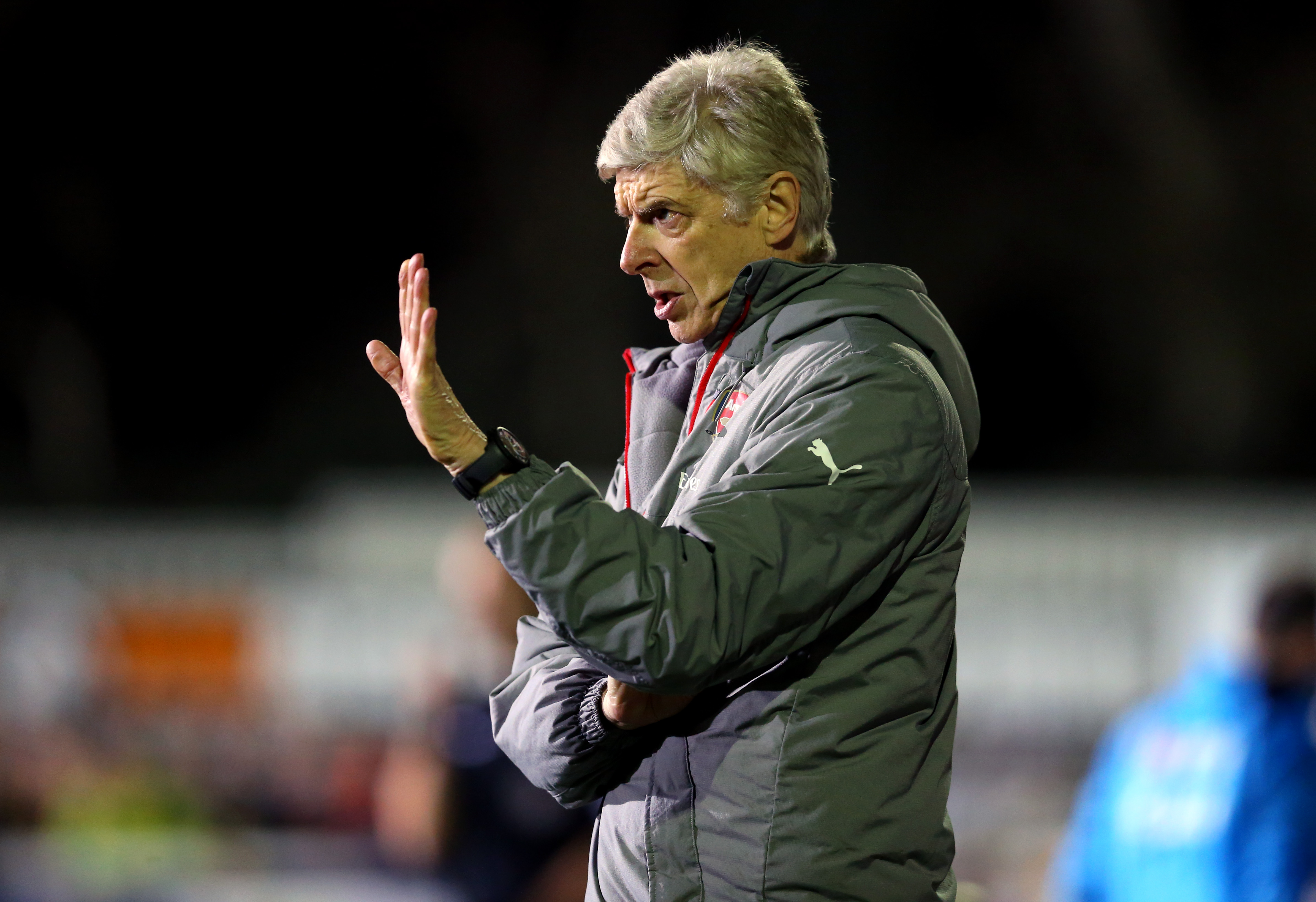 SUTTON, GREATER LONDON - FEBRUARY 20: Arsene Wenger manager of Arsenal during The Emirates FA Cup Fifth Round match between Sutton United and Arsenal on February 20, 2017 in Sutton, Greater London. (Photo by Catherine Ivill - AMA/Getty Images)