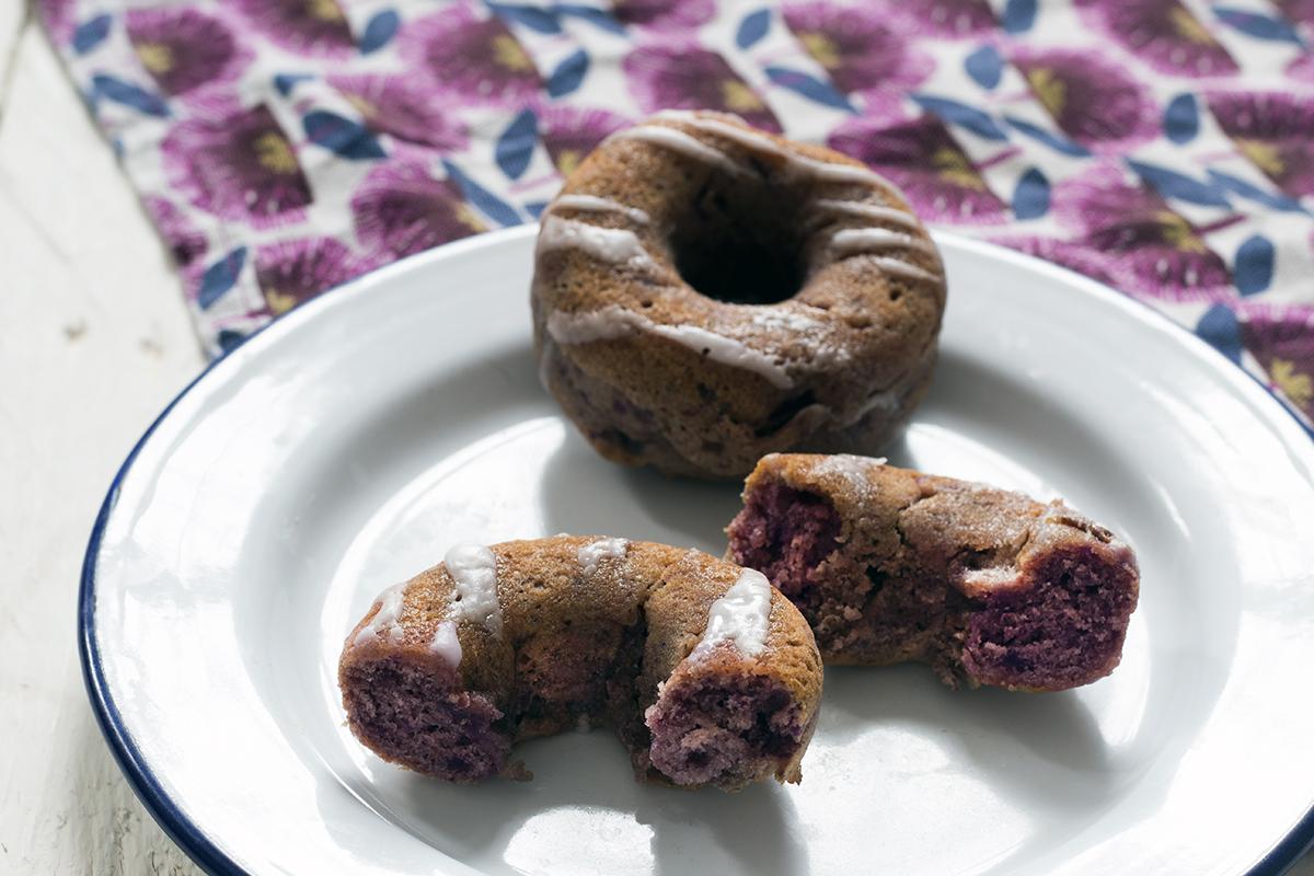Vegan recipe: Purple sweet potato doughnuts with vanilla icing