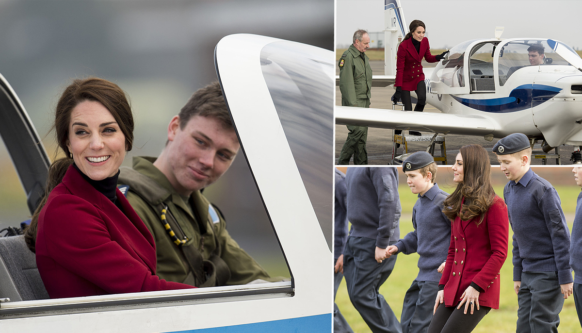Kate takes charge of the cockpit while hanging out with RAF cadets
