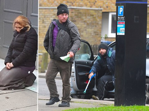'Homeless' begging gang pictured getting out of car together before targeting city