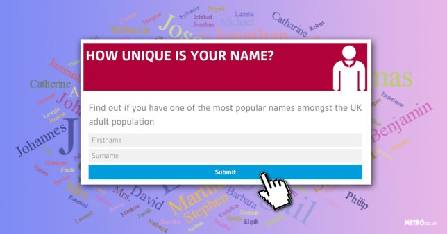(Picture: metro/ GBG UK names) How unique is your name?