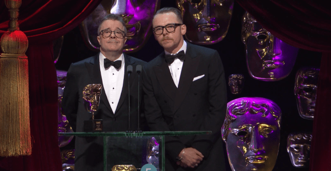 Pegg and Lane gave a comedic performance (Picture: BBC One)