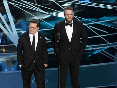 Michael J Fox got a standing ovation as he emerged from a DeLorean on stage with Seth Rogen