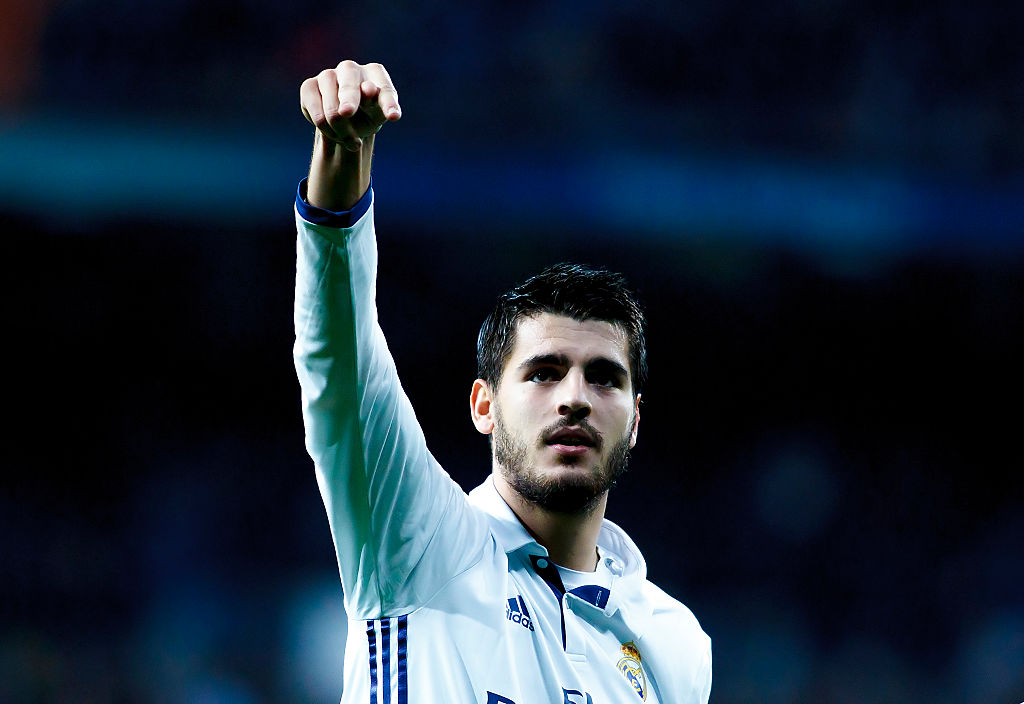 MADRID, SPAIN - DECEMBER 10: Alvaro Morata of Real Madrid celebrates the first goal during the Spanish League 2016/17 match between Real Madrid and Deportivo, at Santiago Bernabeu Stadium in Madrid on December 10, 2016. (Photo by Guillermo Martinez/Corbis via Getty Images)