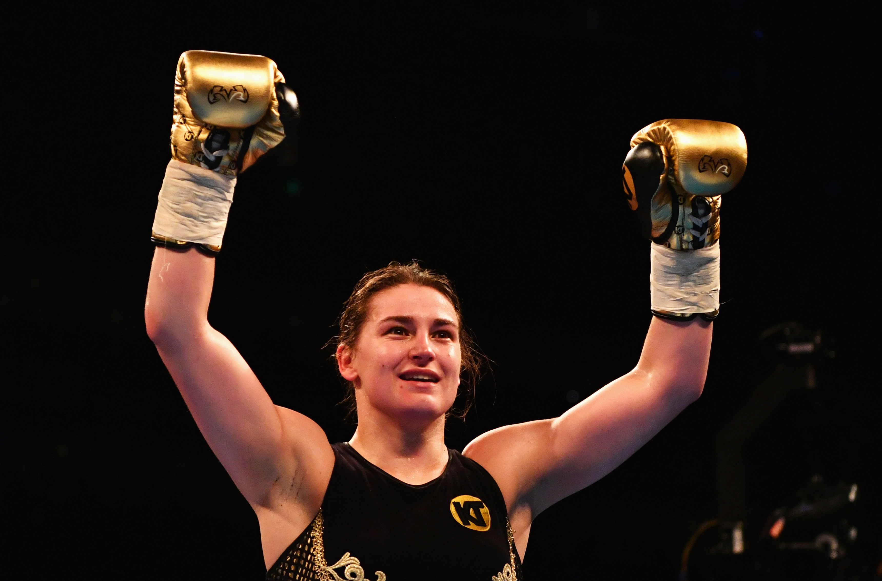 LONDON, ENGLAND - MARCH 04: Katie Taylor celebrates victory over Monica Gentili after their Super-Featherweight contest at The O2 Arena on March 4, 2017 in London, England. (Photo by Dan Mullan/Getty Images)