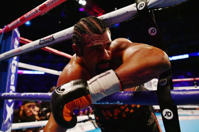 LONDON, ENGLAND - MARCH 04: David Haye falls through the ropes during his Heavyweight contest against Tony Bellew at The O2 Arena on March 4, 2017 in London, England. (Photo by Dan Mullan/Getty Images)