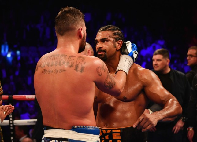 LONDON, ENGLAND - MARCH 04: Tony Bellew (L) embraces David Haye after his 11th round TKO victory after their Heavyweight contest at The O2 Arena on March 4, 2017 in London, England. (Photo by Dan Mullan/Getty Images)