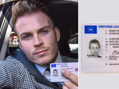 Man's driving licence issued with photo of him from primary school