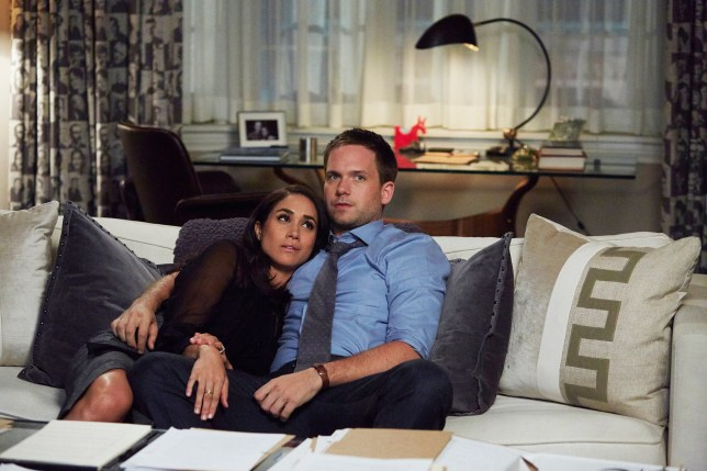 Television programme: Suits - Meghan Markle cosies up to Patrick J Adams in new series of . The pair, playing married couple Rachel and Mike, have been reunited after Mike was released from prison