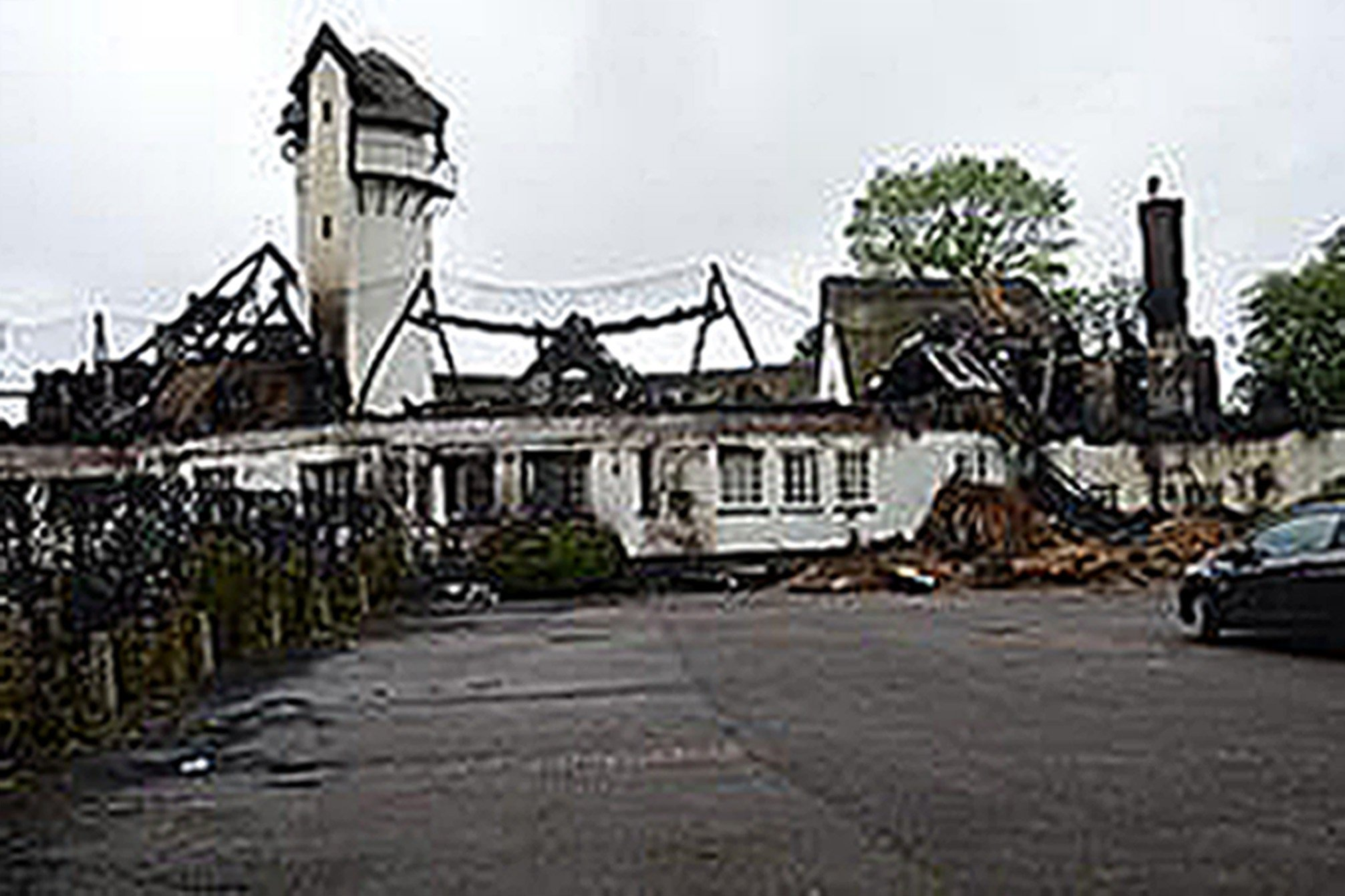 BEST QUALITY AVAILABLE Undated handout photo issued by Hertfordshire Police of the damaged caused by Joshua Bozier, who has been jailed after he caused millions of pounds of damage with the fire that destroyed one of the country's largest thatched roofs. PRESS ASSOCIATION Photo. Issue date: Wednesday March 1, 2017. Bozier started the blaze at the Grade II-listed Node Court in Codicote, Hertfordshire, which is thought to have been one of the country's most costly arson attacks. See PA story POLICE Arsonist. Photo credit should read: Hertfordshire Police/PA Wire NOTE TO EDITORS: This handout photo may only be used in for editorial reporting purposes for the contemporaneous illustration of events, things or the people in the image or facts mentioned in the caption. Reuse of the picture may require further permission from the copyright holder.