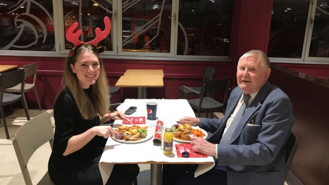 Sainsbury's worker, 22, has dinner 'date' with elderly widower after learning he has no friends or family - and he turns up with flowers and his best suit Ellie Walker, 22, invited widower Edwin Holmes, 86, to dinner after she heard he spends most days alone