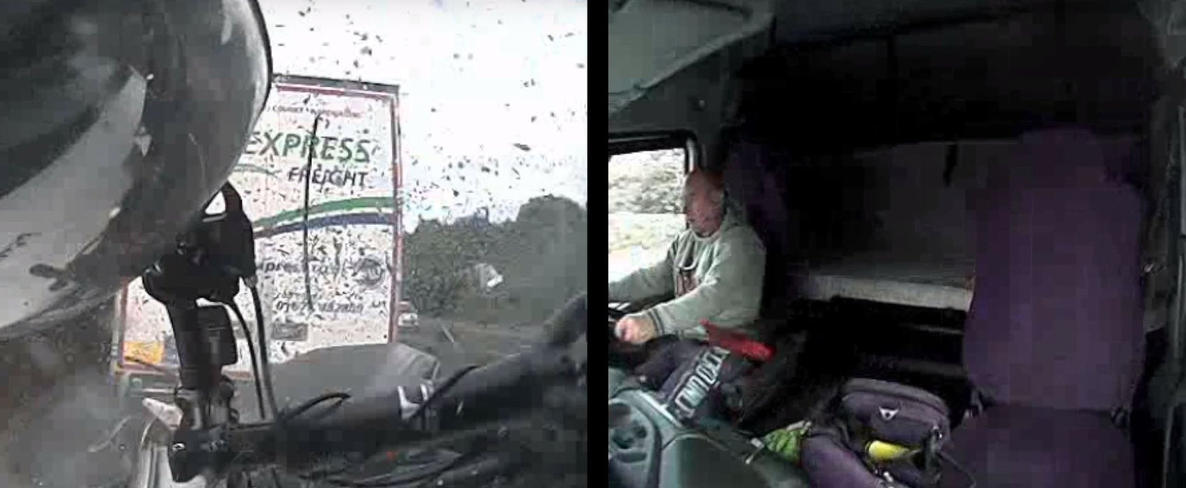 Horrific footage of trucker on his mobile before crashing and killing mum and three children to be shown in cinemas (PA) Handout dashcam still dated 10/08/16 issued by Thames Valley Police of Tomasz Kroker in his lorry as it ploughed into a stationary car killing a woman and three children, while he was scrolling through music on his mobile phone as he has been jailed for 10 years. ... Tomasz Kroker court case ... 31-10-2016 ... Photo credit should read: Thames Valley Police/Press Association Images. Unique Reference No. 29055752 ... Issue date: Monday October 31, 2016. Kroker smashed into the vehicle carrying Tracey Houghton, 45, her sons Josh Houghton, 11, Ethan Houghton,13, and stepdaughter Aimee Goldsmith, 11, while travelling at 50mph on August 10. See PA story COURTS Lorry. Photo credit should read: Thames Valley Police/PA Wire NOTE TO EDITORS: This handout photo may only be used in for editorial reporting purposes for the contemporaneous illustration of events, things or the people in the image or facts mentioned in the caption. Reuse of the picture may require further permission from the copyright holder.