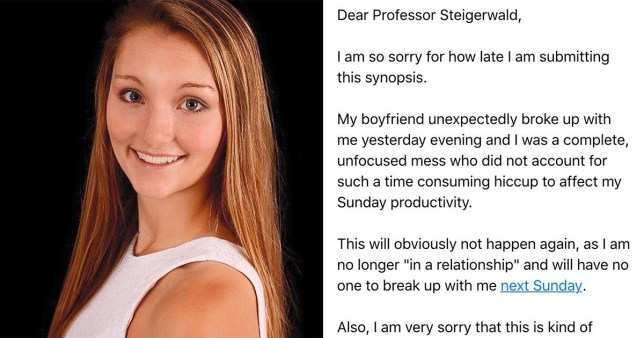 Tutor has best response to student who used breakup as a late