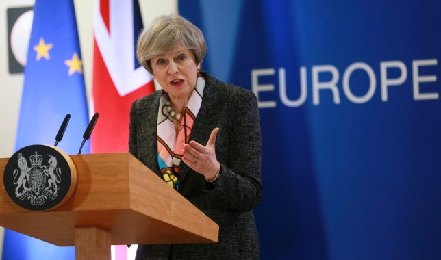 epa05839522 Britain's Prime Minister Theresa May gives a press briefing during the European spring summit in Brussels, Belgium, 09 March 2017. European leaders will mainly focus on election of the European Council President and on Brexit during the two-day summit. EPA/OLIVIER HOSLET