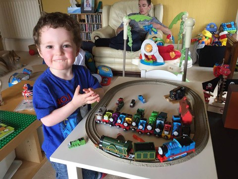 Three-year-old's first completed train set ended up in the shape of a giant penis
