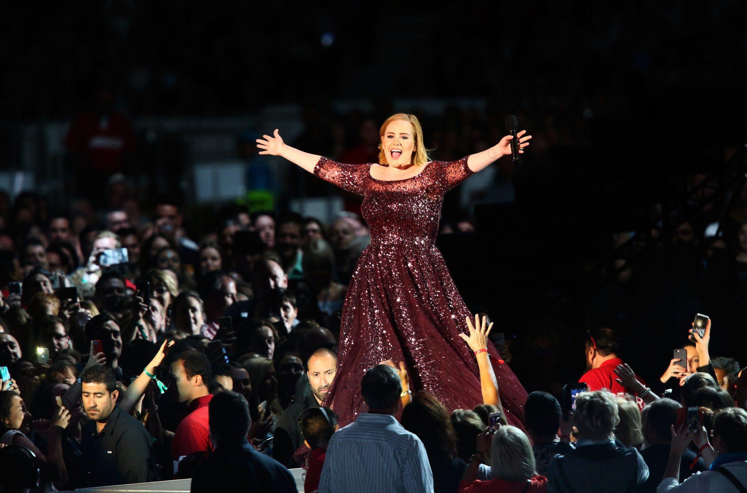ADELAIDE, AUSTRALIA - MARCH 13: Adele performs at Adelaide Oval on March 13, 2017 in Adelaide, Australia. (Photo by Morne de Klerk/Getty Images)
