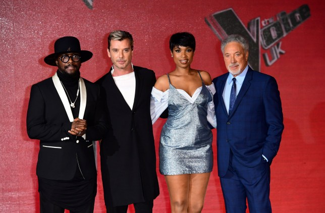 will.i.am (left), Gavin Rossdale (second left), Jennifer Hudson (second right) and Sir Tom Jones (right) attending The Voice UK final photocall in London. PRESS ASSOCIATION Photo. Picture date: Wednesday 29th March, 2017. Photo credit should read: Ian West/PA Wire.