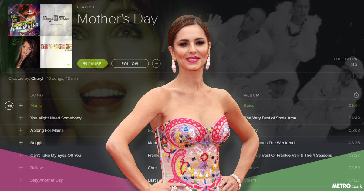 Cheryl has created a playlist for Mother's Day on Spotify
