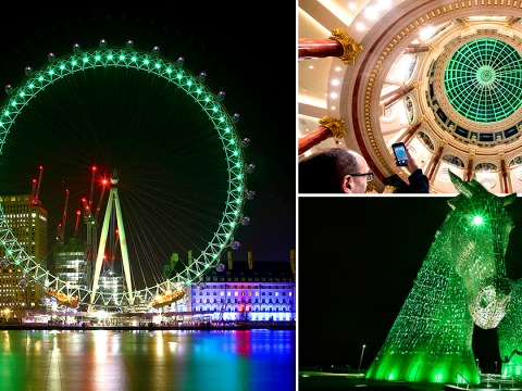 Buildings celebrate St Patrick's Day celebrations by being lit up in green colour