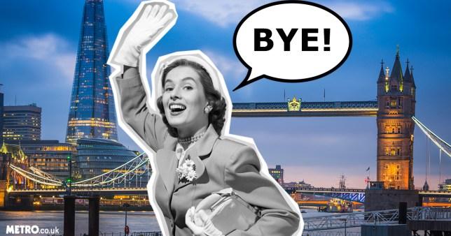 woman waving goodbye to London