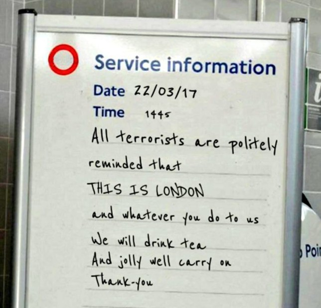 Fake tube message speaks for whole country after terror