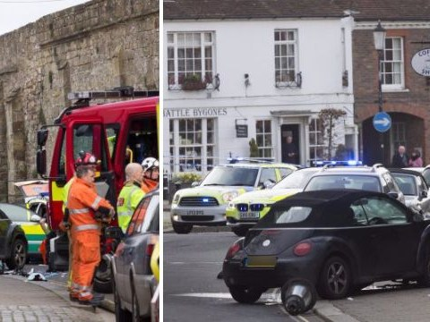 Mum killed after car smashed into her as she pushed pram with three kids