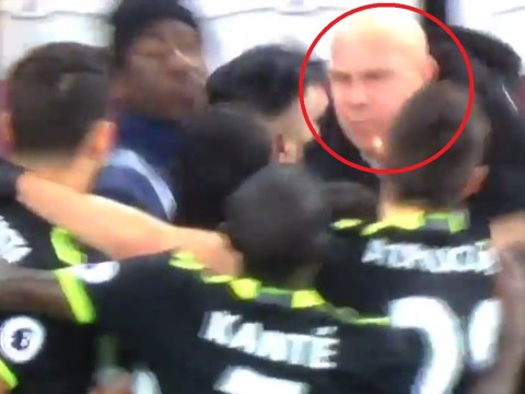 Chelsea stars confronted by angry West Ham fan moments after Eden Hazard goal
