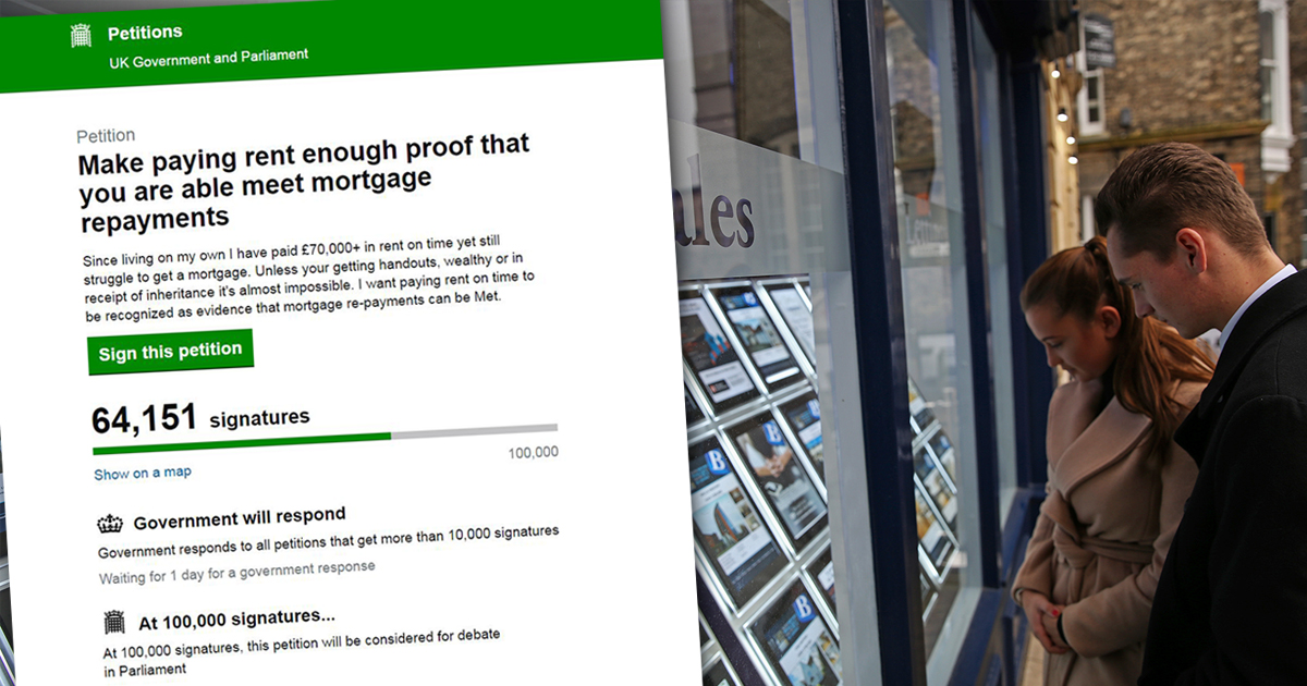 70,000 sign petition to make rent payments proof you can afford a mortgage