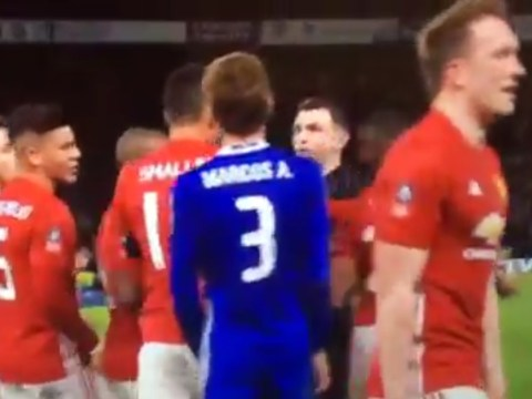 Phil Jones imitates Eden Hazard's 'dive' after Ander Herrera's red card during Chelsea vs Manchester United