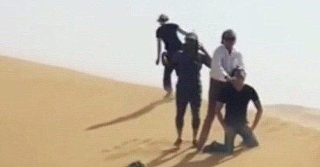 Rod Stewart appeared to re-enact a beheading in the footage (Picture: Penny Lancaster/Instagram)
