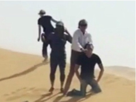 Rod Stewart filmed acting out Isis-style beheading in the desert