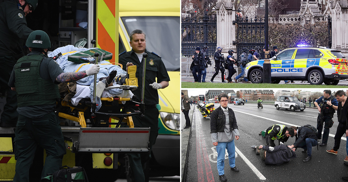 Witnesses describe 'man in black' attacking police officer outside Parliament