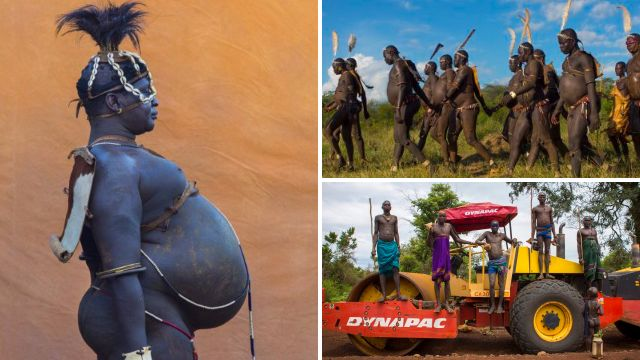 Men in tribe drink cows milk and blood in competition to gain the most weight
