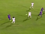 Ronaldinho produces no-look assist for Ludovic Giuly in Barcelona v Real Madrid legends match