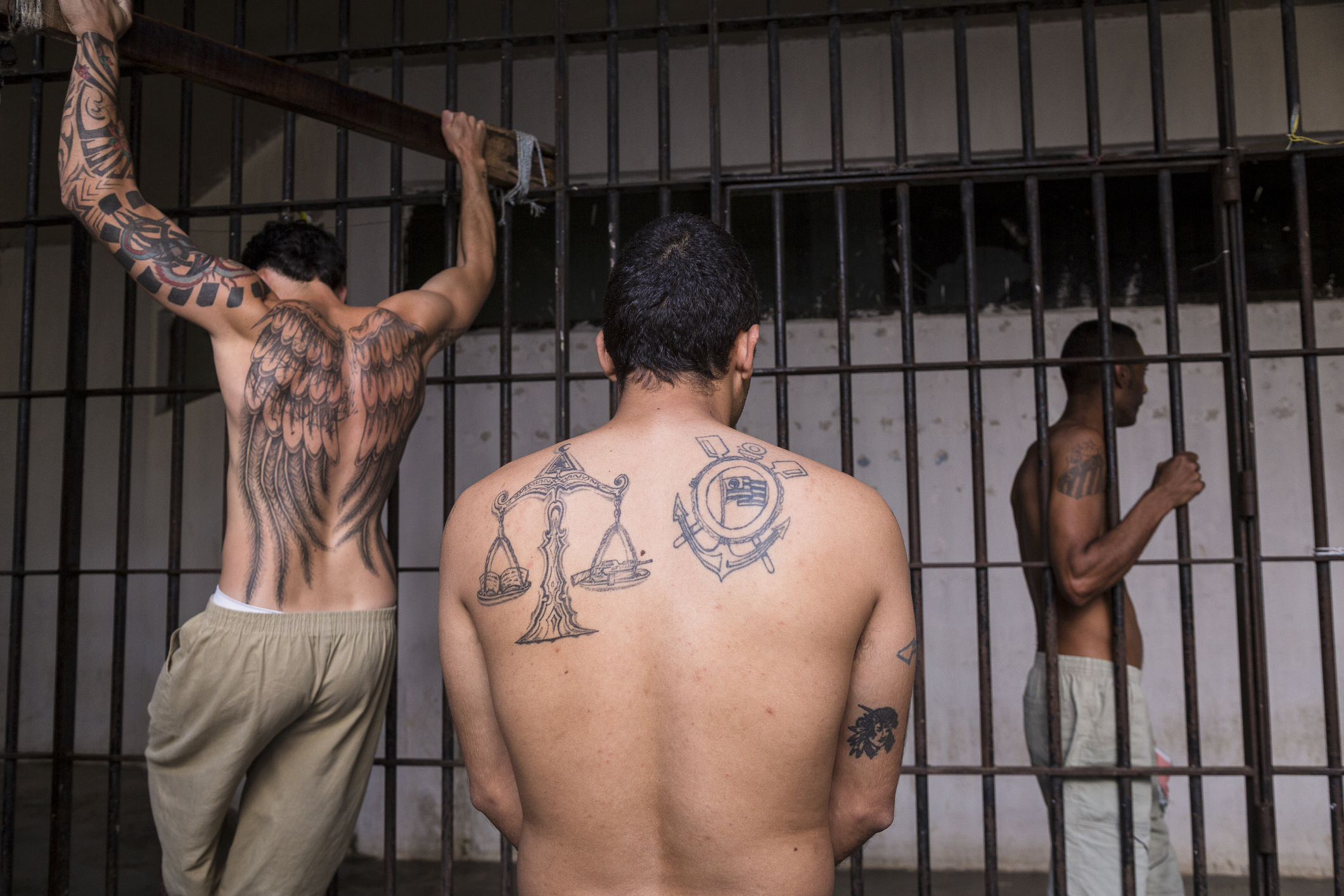 Prisoners working out inside Adriano Marrey maximum security penitenciary, Guarulhos. Brazil.