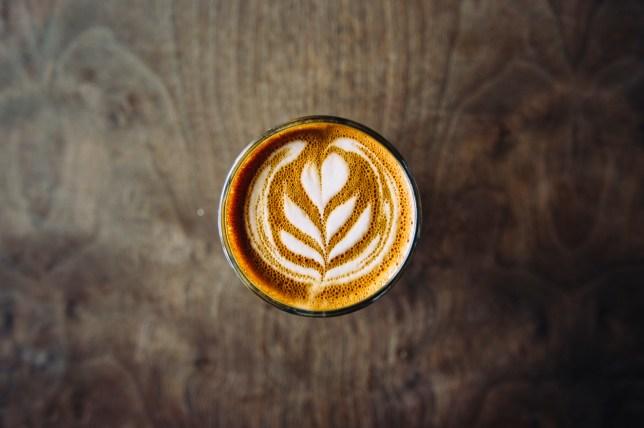 Cup of cortado in coffee shop in Williamsburg, Brooklyn, New York City, USA