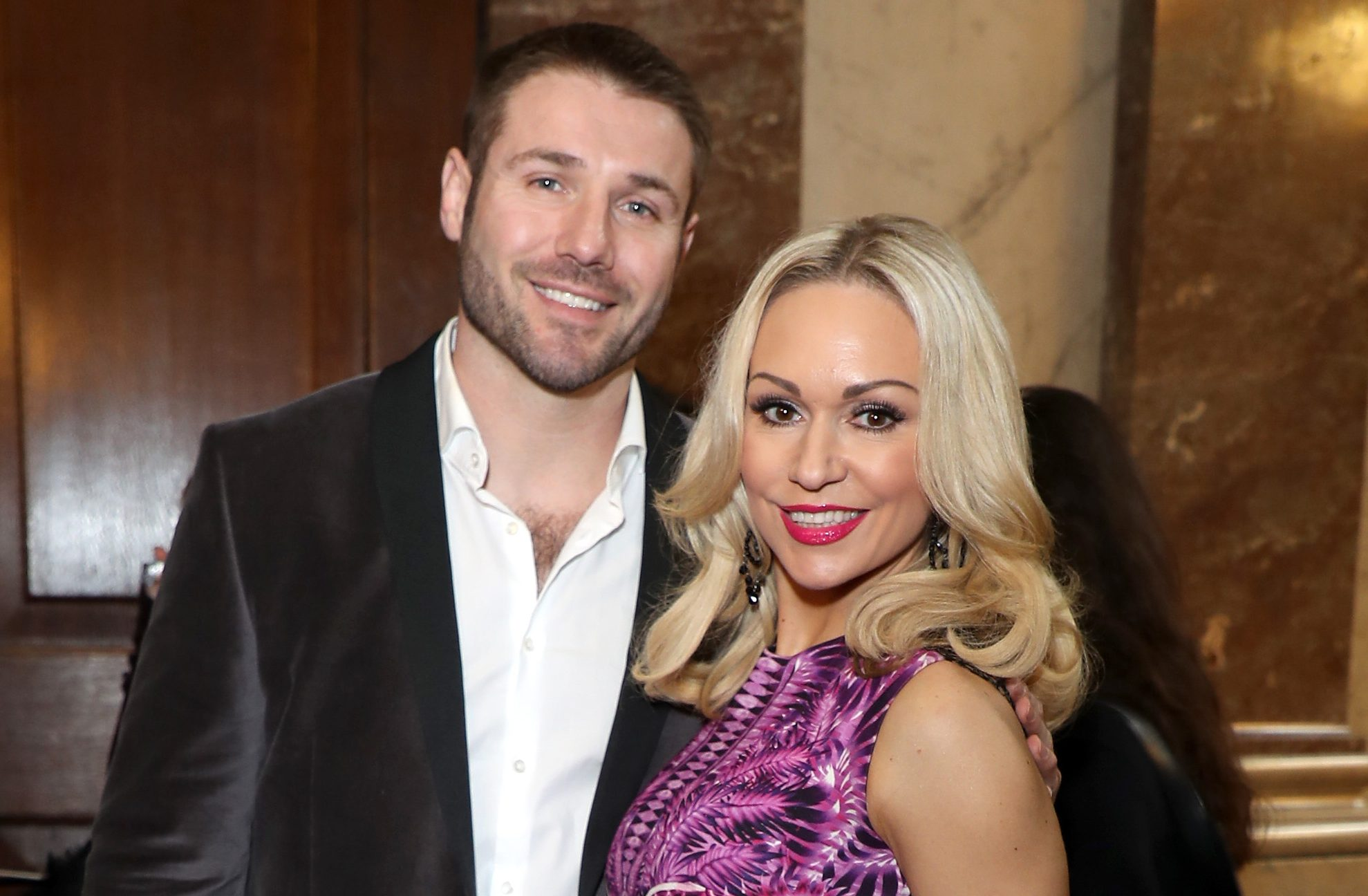 LONDON, ENGLAND - FEBRUARY 18: Kristina Rihanoff (R) and Ben Cohen attend the Julien MacDonald show during the London Fashion Week February 2017 collections on February 18, 2017 in London, England. (Photo by Mike Marsland/WireImage)