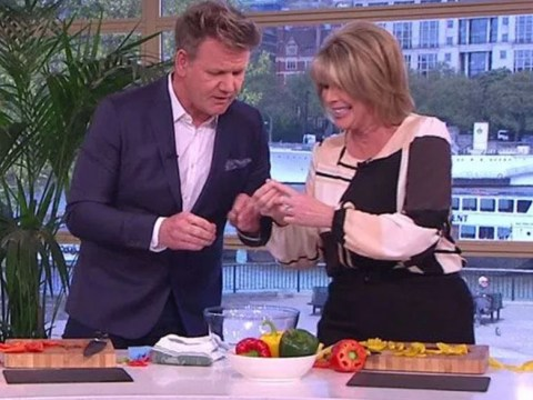Ruth Langsford calls in medics after cutting finger open on This Morning during Gordon Ramsay segment