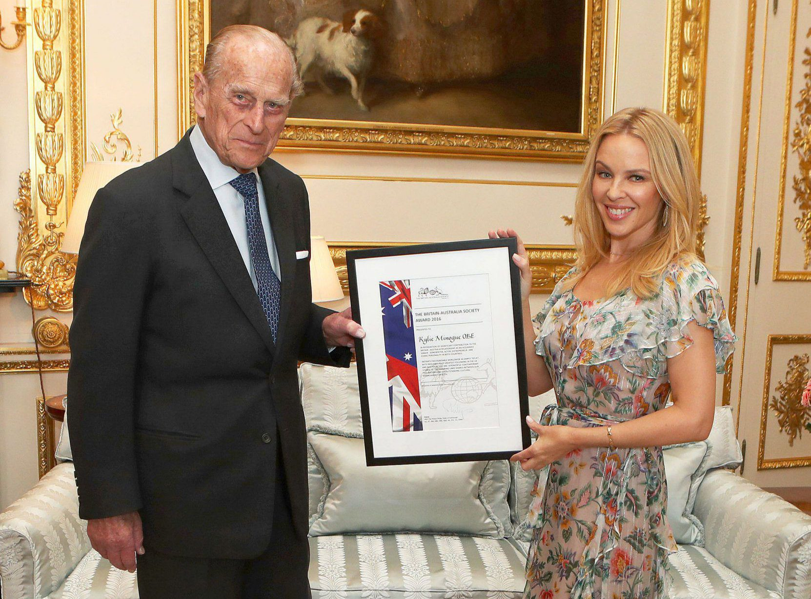 Pop royalty meets for-real royalty: Kylie Minogue meets Prince Philip for Britain-Australia Award