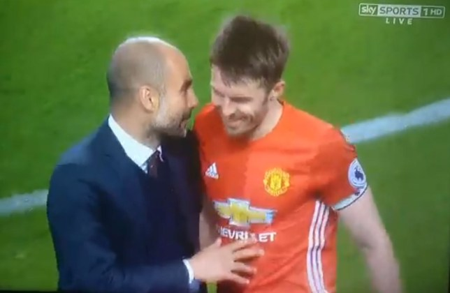 Carrick and Guardiola exchanged pleasantries at the end of the Manchester derby (Picture: Sky Sports)