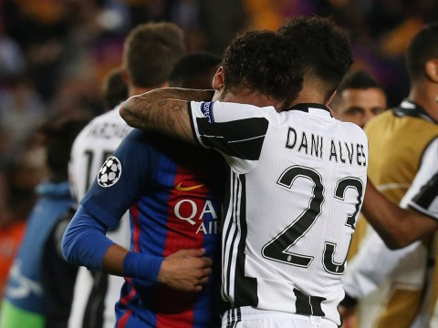 Neymar in tears and consoled by Dani Alves after Barcelona's Champions League exit to Juventus
