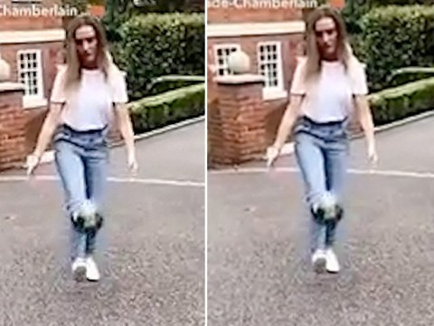Little Mix star Perrie Edwards surprises Alex Oxlade-Chamberlain with 'unbelievable' keepy-uppy skills